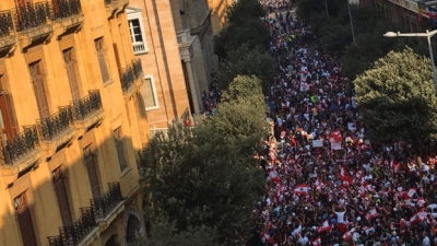 Beirut, Ryad el Solh on 19 October 2019, the fourth day of the uprising. Around one million protesters where on the streets.